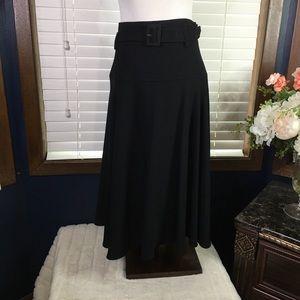 Calvin Klein Black Black A-Line Belted Skirt Size 10